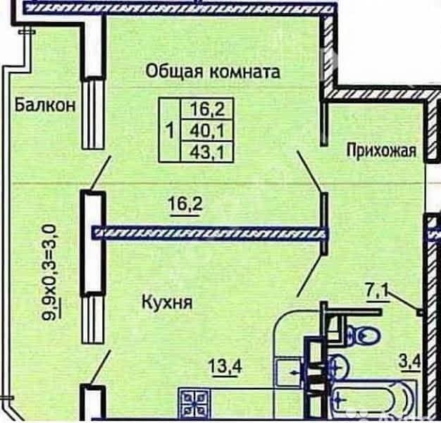 1-к квартира, 43 м?, 7/20 эт.; цена: 2550000; недвижимость, .